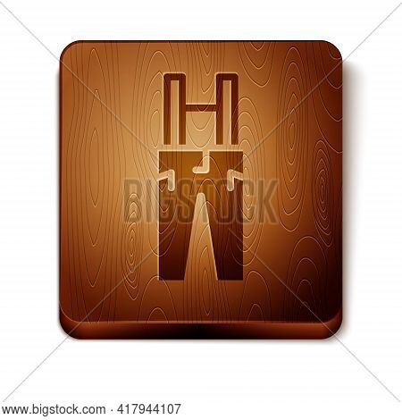 Brown Pants With Suspenders Icon Isolated On White Background. Wooden Square Button. Vector
