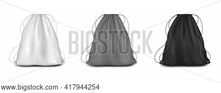 Backpack With Strings Mockup Set, Vector Illustration. White, Grey, Black Drawstring Canvas Pouch, S