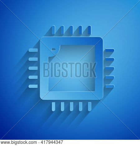 Paper Cut Computer Processor With Microcircuits Cpu Icon Isolated On Blue Background. Chip Or Cpu Wi