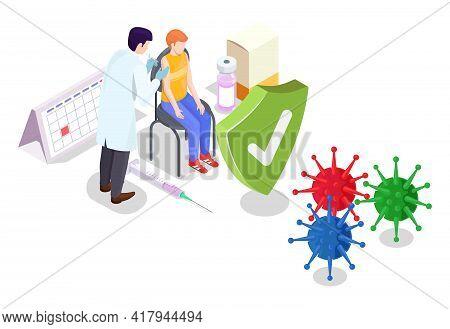 Covid Coronavirus Vaccination Concept Vector Illustration Isometric Style. Covid-19 Vaccine. Doctor