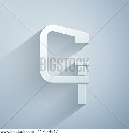 Paper Cut Clamp And Screw Tool Icon Isolated On Grey Background. Locksmith Tool. Paper Art Style. Ve