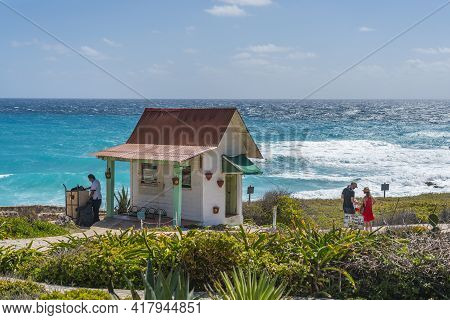 Cancun, Mexiico - March 10.2021: The Entrance At The Lighthouse In The South At The Beautiful Caribb