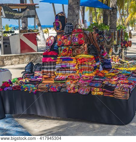 Isla Mujeres, Mexico - March 12.2021: Colorful Souvenir Shops In Isla Mujeres On The Street, Mexico.