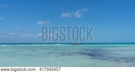 Isla Mujeres, Mexico - March 12. 2021: Playa Norte - North Beach With White Sand And People In Isla