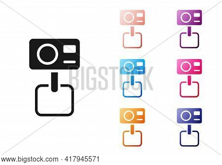 Black Action Extreme Camera Icon Isolated On White Background. Video Camera Equipment For Filming Ex
