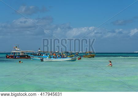 Isla Mujeres, Mexico - March 12. 2021: Playa Norte - North Beach With Crystal Clear Turquoise Water