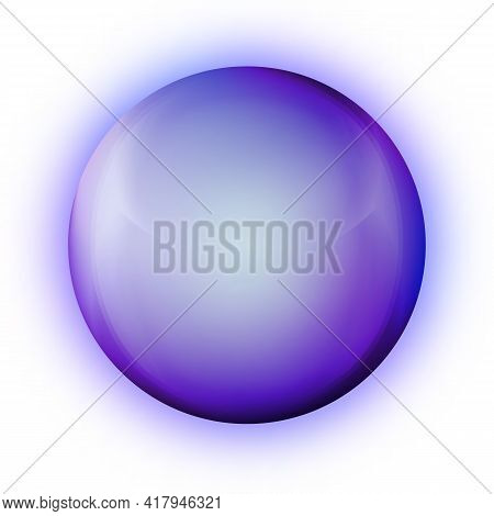Glass Purple Ball Or Precious Pearl. Glossy Realistic Ball, 3d Abstract Vector Illustration Highligh