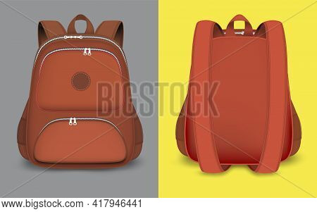 Red Backpack Mockup Set, Vector Isolated Illustration. 3d Realistic School Bag, Rucksack With Zipper