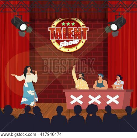 Tv Talent Show. Singer Woman Singing In Front Of Live Audience And Jury, Flat Vector Illustration. T