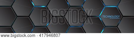 Dark Hexagonal Background. Bright Light Under Honeycomb Elements. Abstract Hi-tech Background With H