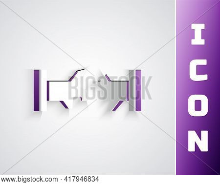 Paper Cut Broken Metal Pipe With Leaking Water Icon Isolated On Grey Background. Paper Art Style. Ve