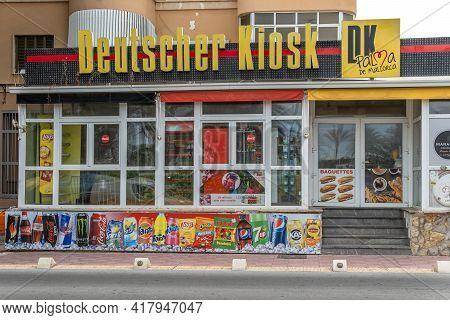 Playa De Palma, Spain; April 20 2021: Deutscher Kiosk In Playa De Palma, On The Island Of Mallorca,