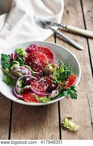 Sicilian Orange Salad. Salad With Blood Orange, Red Onions And Olives.