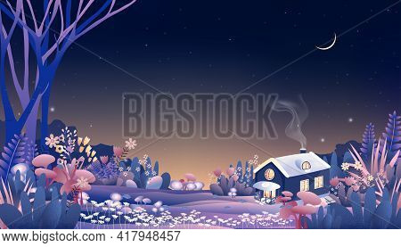 Fantasy Wonderland Landscape Of Magic Forest With Fairy Tale Cottage With Crescent Moon And Star At