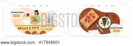 Confectioner Landing Page Design, Website Banner Vector Template Set. Baker Selling Cakes, Muffins.