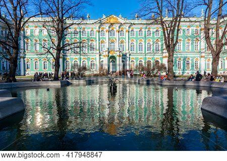 Saint Petersburg, Russia - April 2021: State Hermitage Museum (winter Palace) In Saint Petersburg