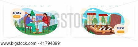 Chess Landing Page Design, Website Banner Vector Template Set. Two Women Playing Chess, Thinking. St
