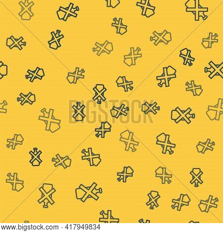 Blue Line No Alcohol Icon Isolated Seamless Pattern On Yellow Background. Prohibiting Alcohol Bevera
