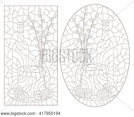 Set Of Contour Illustrations In The Style Of Stained Glass With Easter Still Lifes, Dark Outline On