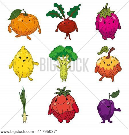 Vegetables Set Hand Drawn Scetch Characters Cartoon. Collection Orange, Beet Root, Strawberry, Lemon