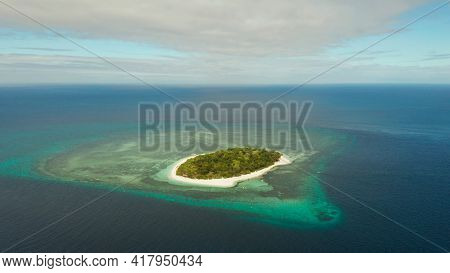 Beautiful Beach On Tropical Island Surrounded By Coral Reef, Top View. Mantigue Island. Small Island