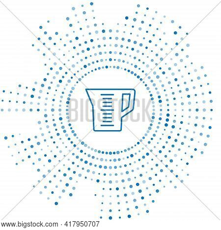 Blue Line Measuring Cup To Measure Dry And Liquid Food Icon Isolated On White Background. Plastic Gr