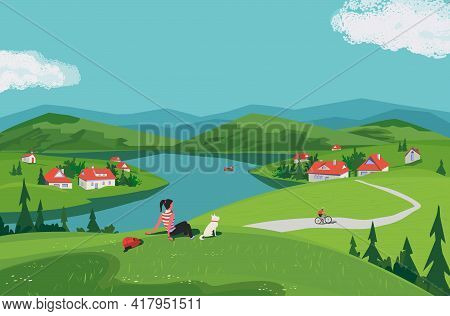 Mountain Green Valley Scene Vector Landscape. Summer Season Scenic View Poster. River Side Village I