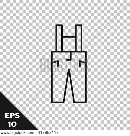 Black Line Pants With Suspenders Icon Isolated On Transparent Background. Vector