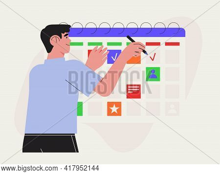 Effective Time Management. Man Manage Tasks, Events, Plan Strategy, Schedule Or Organize Business Me