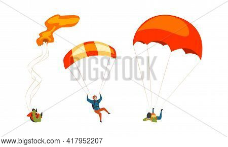 Parachuting Man Paratrooper Descenting Using Parachute Vector Set