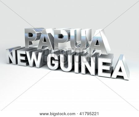 3D Country Text Of Papua New Guinea