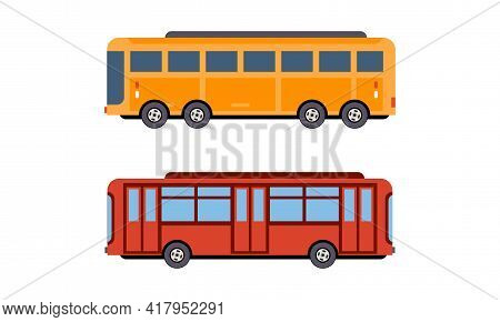 Bus Or Omnibus As Road Vehicle For Carrying Passengers Vector Set
