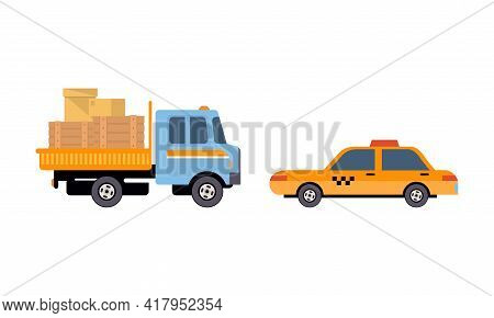 Truck Or Lorry As Motor Vehicle And Urban Transport For Transporting Cargo And Taxi Cab Vector Set