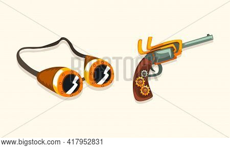 Steampunk Fictional Objects And Mechanism With Goggles And Mechanical Pistol Vector Set