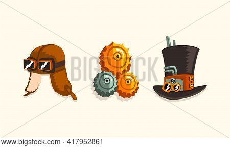 Steampunk Fictional Objects And Mechanism With Mechanical Top Hat And Cogwheels Vector Set