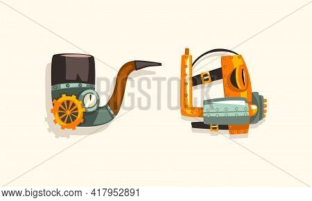 Steampunk Fictional Objects And Mechanism With Mechanical Cogwheel And Shiny Rivet Vector Set