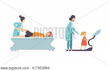 Physical Therapy Or Physiotherapy With Therapist Restoring Health After Trauma Or Injury Vector Set