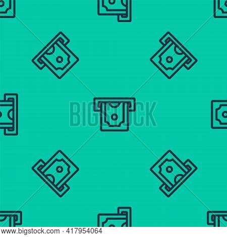 Blue Line Atm - Automated Teller Machine And Money Icon Isolated Seamless Pattern On Green Backgroun