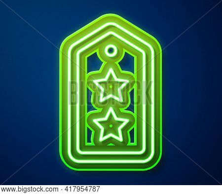 Glowing Neon Line Military Rank Icon Isolated On Blue Background. Military Badge Sign. Vector
