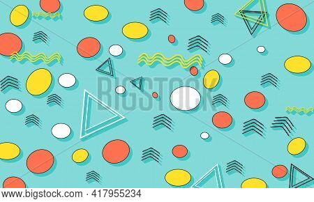 Memphis Pattern. Summer Fun Background. Coral, Blue, Yellow Colors. Memphis Style Patterns. Abstract