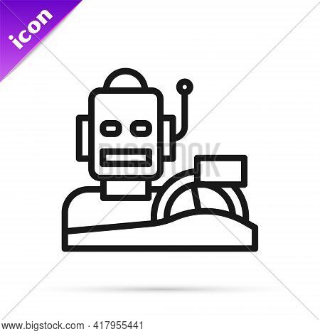 Black Line Robot Humanoid Driving A Car Icon Isolated On White Background. Artificial Intelligence,
