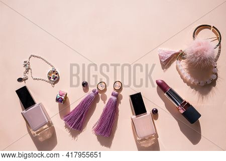Flat Lay For Fashion Blog And Social Media. Womans Glamour Beauty Accessories On Pastel Background.