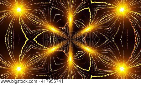 Bright Beams 3d Render Of Festive Carnival Lights. Star Rays Celebration Parties With Shiny Explosio