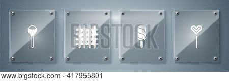 Set Lollipop, Ice Cream, Cracker Biscuit And . Square Glass Panels. Vector