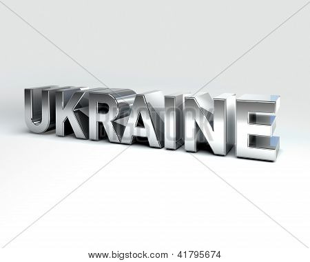 3D Country Text Of Ukraine