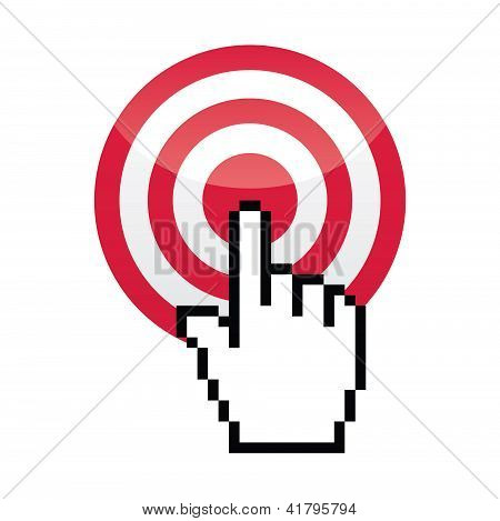 Target with cursor hand vecotr icon