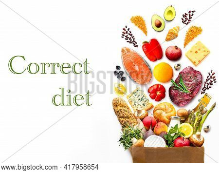 Healthy Food On A White Background.proper Nutrition On A White Background.healthy Food Ingredients I
