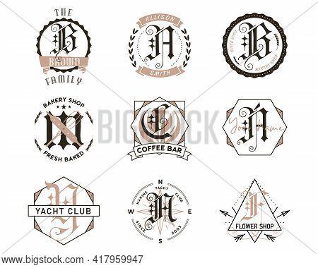 Monogram Bundle Designs. Classic Monograms - Cafe, Bakery, Coffee Shop And Names. Stylish Badges Web