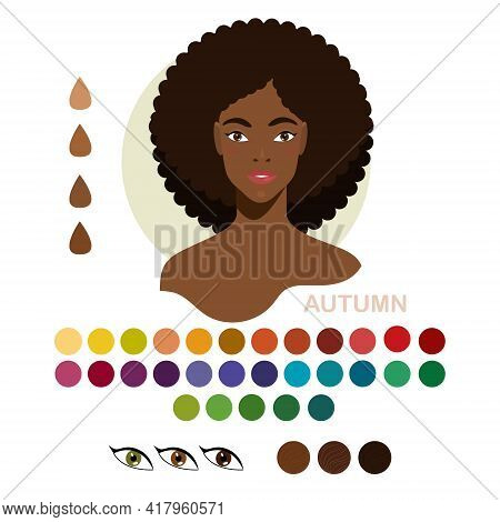 Black Woman Appearance Color Type Autumn. Woman Portrait With Color Type Or Types Of Skin. Fashion G