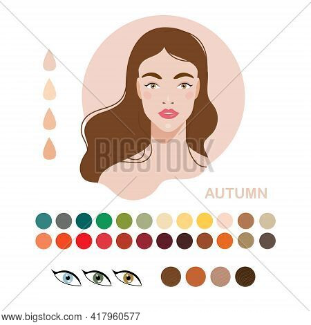 Woman Color Type Autumn, Fall. Types Of Skin Color Or Appearance Color Type. Fashion Guide Chart Wit